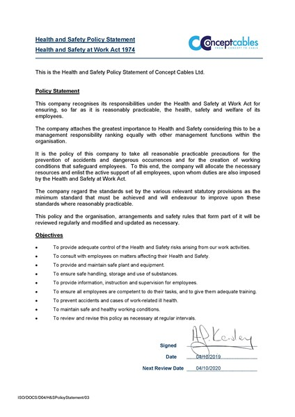 H&S Policy Statement