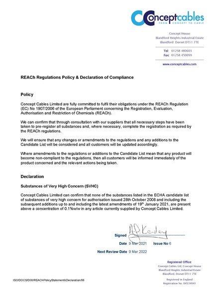 REACh Policy Statement Declaration